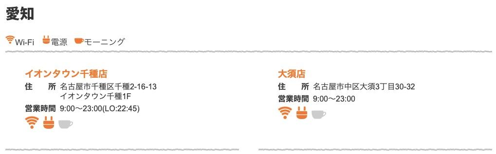 愛知県内の店舗は2つだけ
